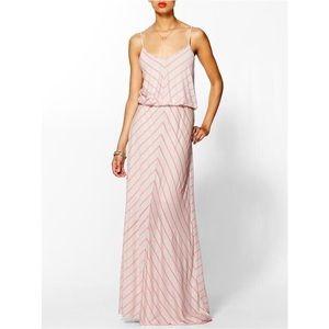 Hive & Honey Tan & Pink Stripe Chevron Maxi Dress